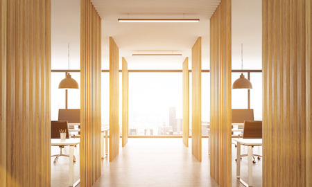 partitions: Open office interior with wooden partitions, concrete floor, ceiling with lamps and New York city view.Toned image, 3D Rendering Stock Photo