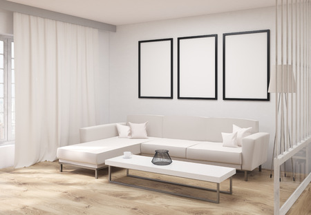living room wall: Side view of living room interior with wooden floor, concrete wall, three blank picture frames, white couch, coffee table, floor lamp, bookshelf and window with curtains. Mock up, 3D Rendering Stock Photo
