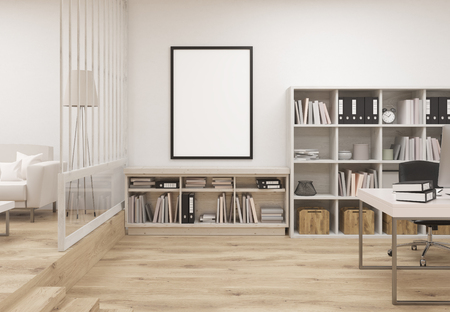 cozy: Creative contemporary cozy office interior with wooden floor, concrete wall, blank picture frame, bookshleves, workplace and lounge area with sofa. Mock up, 3D Rendering Stock Photo