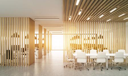 Open office interieur met houten schotten, betonnen vloer, zonlicht en ontmoetingsruimte. Gestemd beeld, 3D-rendering