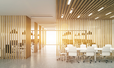 Open office interior with wooden partitions, concrete floor, sunlight and meeting area. Toned image, 3D Rendering Stock Photo