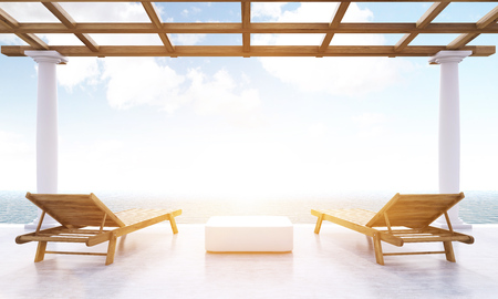 lounges: Resort lounge area with small table, two wooden chaise lounges and sea view with sunlight. Toned image. 3D Rendering