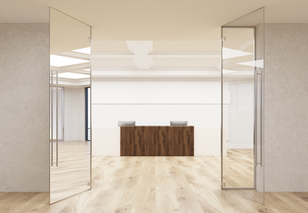 interior walls: Front view of interior with wooden office reception stand, parquet flooring, concrete walls and ceiling behind glass doors. 3D Rendering