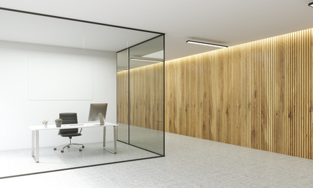 glass office: Side view of office interior with blank whiteboard behind glass doors and hallway with wooden wall. Mock up, 3D Rendering