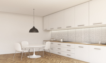 kitchen counter: Side view of kitchen interior with small dining table and chairs, counter with stove and sink, cabinets, ceiling lamp, wooden floor and concrete wall. 3D Rendering