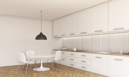 Muur Keuken Kleine : Zijaanzicht van de keuken interieur met kleine eettafel en stoelen