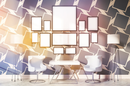 patterned wallpaper: Front view of interior with small table, chairs, floor lamps and blank picture frames on dark patterned wallpaper with daylight. Toned image. Mock up, 3D Rendering