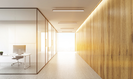 glass office: Office interior with blank whiteboard behind glass doors and hallway with wooden wall and sunlight. Toned image. Mock up, 3D Rendering