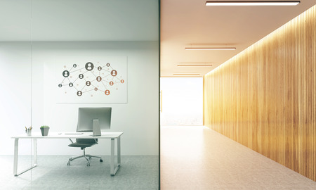 glass doors: Side view of office interior with social network sketch on whiteboard behind glass doors and hallway with wooden wall and sunlight. Toned image. Mock up, 3D Rendering