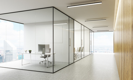 glass ceiling: Side view of office interior with blank whiteboard behind glass doors, hallway with concrete floor, wooden wall, ceiling and panoramic windows with New York city view. Mock up, 3D Rendering