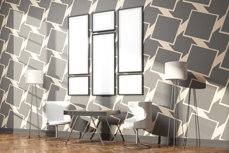 patterned wallpaper: Side view of interior with small table, chairs, floor lamps and blank picture frames on dark patterned wallpaper with daylight. Mock up, 3D Rendering
