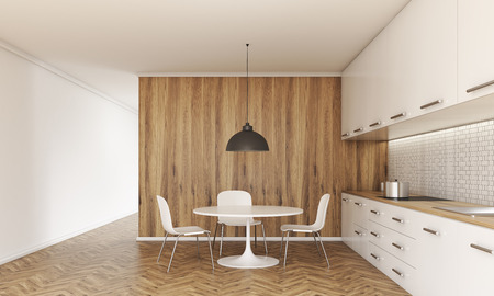 lifestyle dining: Kitchen interior with small dining table and chairs, counter with stove and sink, cabinets, ceiling lamp, wooden floor and wall. 3D Rendering