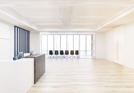 glass ceiling: Side view of interior design with reception desk, wooden floor, concrete walls, ceiling and conference room behind glass doors. 3D Rendering Stock Photo