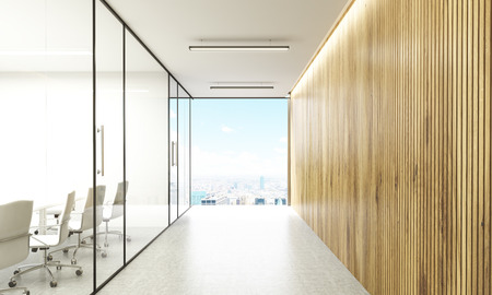 glass doors: Front view of conference room behind glass doors and hallway with wooden wall and New York city view. 3D Rendering