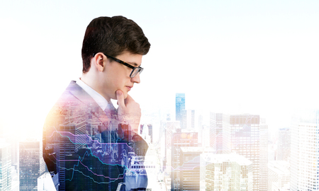 double chin: Side view of thoughtful businessman on New York city background with forex chart. Analyzing young broker. Double exposure