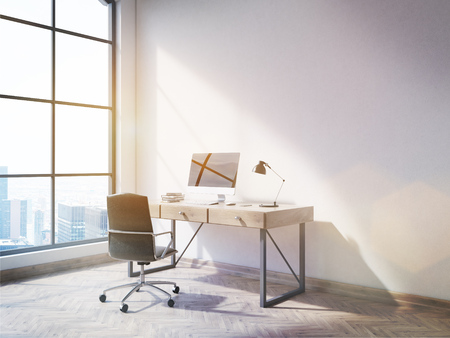 office window view: Side view of office interior with blank computer on desktop, wooden floor, concrete wall and window with New York city view. Mock up, 3D Rendering