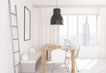 iron curtains: Side view of dining area in kitchen interior with table, chairs, iron ladder, soft bench, blank picture frame, ceiling lamp and window with curtains and New York city view. 3D Rendering
