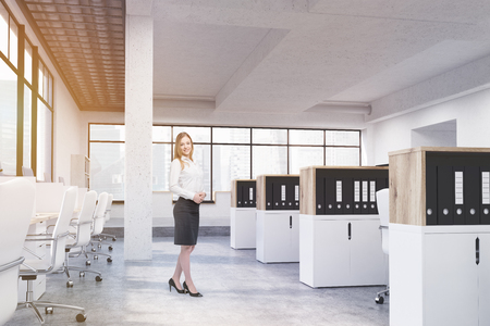 cabinets: Young cheerful businesswoman in coworking office interior with workplaces, cabinets with document folders and panoramic windows with Singapore city view. 3D Rendering