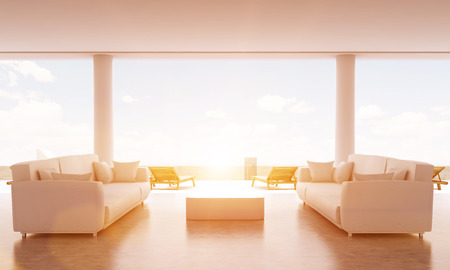 lounges: Lounge interior with small coffee table, two white sofas and chaise longues on New York city background with sunlight. Toned image, 3D Rendering