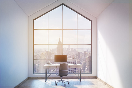 loft: Front view of loft office interior with workplace, wooden floor, concrete walls and panoramic window with New York city view. Mock up, 3D Rendering Stock Photo