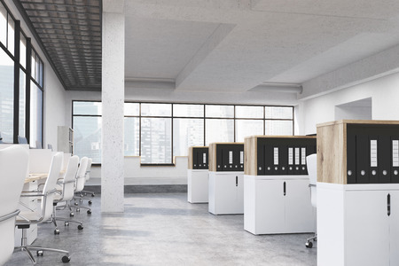 cabinets: Modern coworking office interior with workplaces, cabinets with document folders, concrete floor, ceiling, column and panoramic window with Singapore city view. 3D Rendering Stock Photo