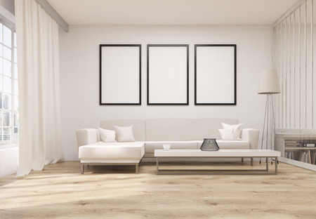 living room wall: Front view of living room interior with wooden floor, concrete wall, three blank picture frames, white couch, coffee table, floor lamp, bookshelf and window with city view. Mock up, 3D Rendering