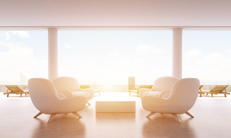 armchairs: Lounge interior with small coffee table, armchairs and chaise longues on New York city background with sunlight. Toned image, 3D Rendering Stock Photo
