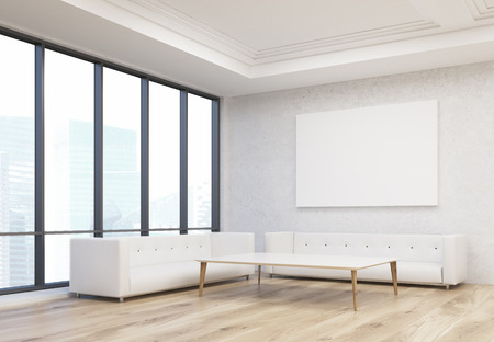 singapore city: Office waiting area with two white sofas, coffee table, blank whiteboard on wall and Singapore city view. Mock up, 3D Rendering Stock Photo