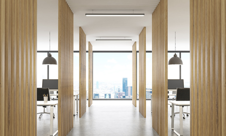 partitions: Open office interior with wooden partitions, concrete floor, ceiling with lamps and New York city view. 3D Rendering Stock Photo