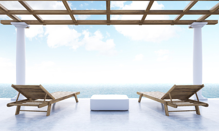 ocean view: Resort lounge area with small table, two wooden chaise lounges, ocean and sky view. 3D Rendering