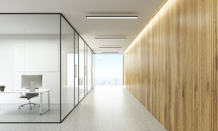 glass doors: Office interior with blank whiteboard behind glass doors and hallway with wooden wall and New York city view. Mock up, 3D Rendering Stock Photo