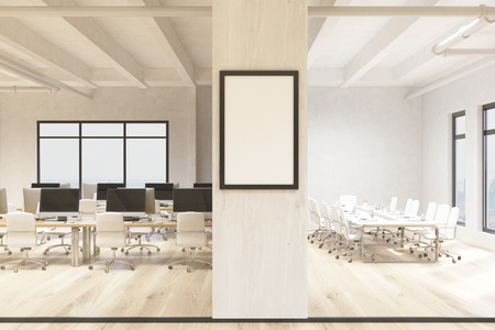 Coworking office and conference room interiors with blank picture frame. Mock up, 3D Rendering
