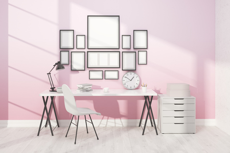 3d lightning: Working place with posters on pink wall. Comfortable furniture and good lightning. 3D render. Mock up.