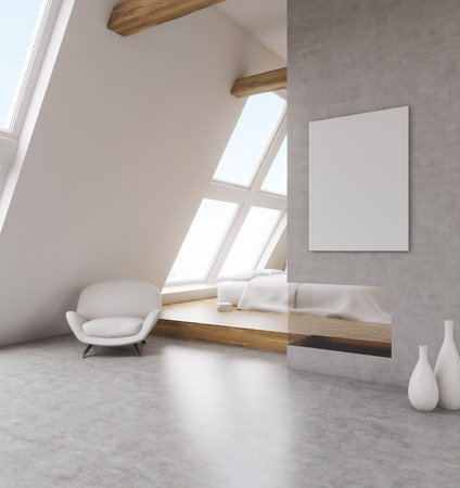 leather armchair: Stylish bedroom with poster on gray wall. Big comfortable bed, soft leather armchair. Concept of home. 3D render, Mock up