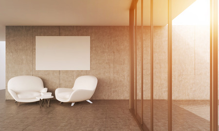 living room wall: Modern living room with two white leather sofas. Big poster on wall. Concept of appartment. 3D rendering. Mock up. Toned image