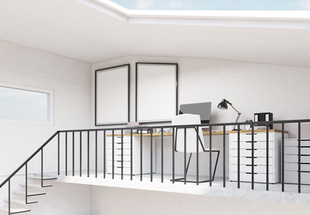 railings: Loft hipster interior with workplace, railings, stairs and blank picture frames. Mock up, 3D Rendering