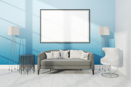 living room wall: Modern living room with comfortable furniture and big poster on wall. Concept of home. 3D render. Mock up.