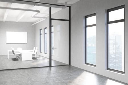 유리 문 뒤에 싱가포르 도시보기 빈 화이트 보드와 창 콘크리트 컨퍼런스 룸 인테리어의 측면보기. , 3D 렌더링을 조롱 스톡 콘텐츠