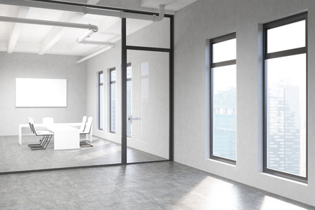 glass doors: Side view of concrete  conference room interior with blank whiteboard and window with Singapore city view behind glass doors. Mock up, 3D Rendering Stock Photo