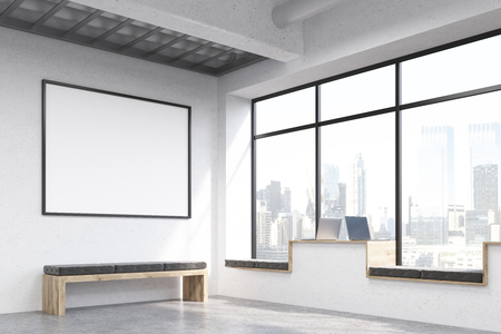 windowsill: Side view of modern hipster windowsill workplaces in concrete interior with bench, blank picture frame and window with New York city view. Mock up, 3D Rendering Stock Photo
