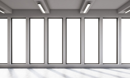 view window: Large empty office room with big windows. Concept of simplicity. 3D render. Mock up Stock Photo