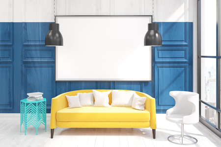 living room wall: Living room with big yellow sofa. Large poster on blue wall. 3D render. Mock up
