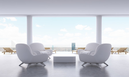 coffee table: Lounge interior with small coffee table, armchairs and chaise longues on New York city background. 3D Rendering Stock Photo