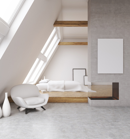 cosy: Cosy bedroom in attic of modern house. Banner on gray wall. Concept of home. 3D render. Mock up