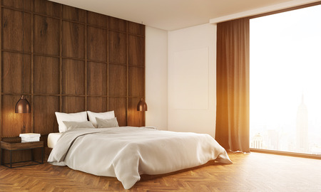 bedroom bed: Bedroom with big bed and a large window with curtains. 3D render. Toned image