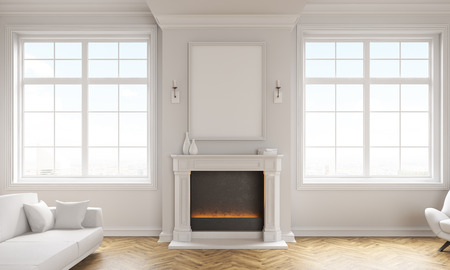 Front view of classic living room interior with wooden floor, white couch, windows with city view and a blank picture frame above fireplace. Mock up, 3D Rendering Stock Photo
