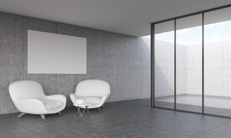 swiming: Modern living room with white leather sofas. Poster on wall. Window to a big swiming pool