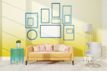 biege: Contemporary living room with medium poster on yellow wall. Large biege sofa with pillows near white lamp. Concept of appartment. 3D render. Mock up.