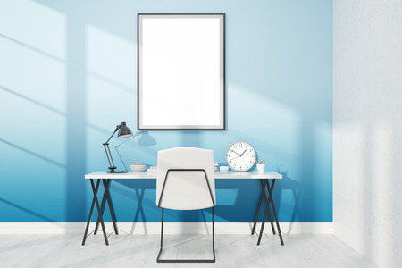 cosy: Cosy compact work space with big poster on blue wall. Concept of work and study. 3D render. Mock up.