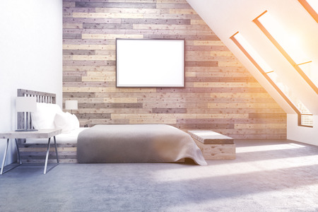 toned: Comfortable bedroom with wooden walls, poster and modern furniture. 3D render. Toned image. Mock up. Stock Photo
